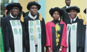 Pro-Chancellor, Rivers State University of Science and Technology(RSUST) and retired Supreme Court Jurist, Justice Karibi Whyte, Rivers State Governor  and Visitor to the University, Rt. Hon. Chibuike Rotimi Amaechi, Rivers State Commissioner for Education, Alice Nemi and Vice-Chancellor of the University, Prof. B. B. Fakae at the 27th Convocation ceremony of the university in Port Harcourt, last Saturday.
