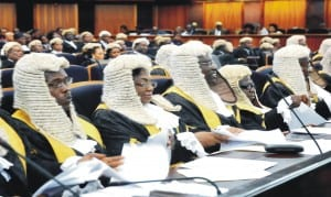 A cross-session of Judges at the Valedictory Court session in honour of Justice Christopher Chukwuma-Eneh at the Supreme Court in Abuja recently.