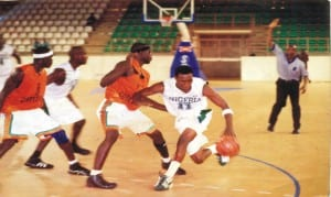 A basketball action between Nigeria's male team and their women counterparts in a previous contienental tourney.