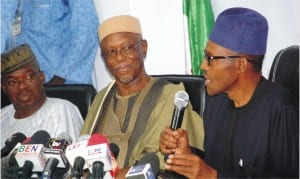 L-R: Former Governor of Ekiti State, Chief Segun Oni, APC National Chairman, Chief John Oyegun and APC Presidential Candidate, Retired Gen. Muhammadu Buhari, at the party's pre-election news conference in Abuja yesterday