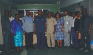 Permanent Secretary, Ministry of Information and Communications, Rivers State, Mr Sam Woka (middle) in a group photograph with NUJ Exco and management of the ministry, during the working visit of the union to the Permanent Secretary in Port Harcourt last Thursday.         Photo: Nwiueh Donatus Ken