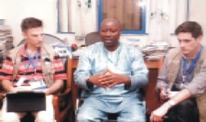 Rivers State NUJ Chairman, Mr Opaka Dokubo (middle) explaining some points to foreign election observers who visited him in his office last Friday.           Photo: Egberi A. Sampson