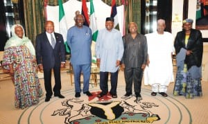 L-R: Commissioner for Political Affairs, African Union Commission, Dr Aisha Abdullahi,  Head, Commonwealth Observers Mission, former President Bakili Muluzi of Malawi, former President John Kuffour of Ghana,  President Goodluck Jonathan, the Head, African Union Election Mission, former President Amos Sawyer of Liberia, Vice President Namadi Sambo and ECOWAS Commissioner for Political Affairs, Peace and Security, Mrs Salamatu Suleiman, during the visit of Heads of International Observer Groups to President Jonathan in Abuja  last Monday.  Photo: NAN