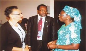 Permanent Secretary, Rivers State Free Medical Care, Dr Nnesochi Offor (left) with Dr Olayinka Mosuro (right), during the celebration of 5 Years of Successful Operation of Obio Cottage Hospital, in Port Harcourt, recently.