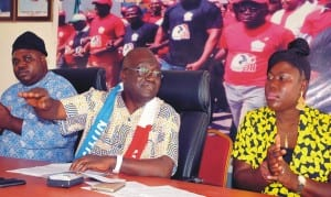From Left: Comrade  John Adaji,  National Treasurer, National Union of  Textile, Garment and Tailoring Workers of Nigeria, (Nutgtwn), Comrade Issa Aremu,  Secretary General, Nutgtwn and Deputy President, Nlc, and Josephine Fashanu,  Account Officer, at a News Conference on Awareness of Governorship and House of Assembly elections in Kaduna on Wednesday