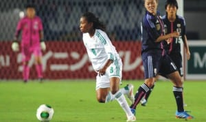 A Super Falcon (8) in action in a past World Cup game against South Korea