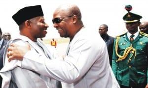 President Goodluck Jonathan (left), with President John Mahama of Ghana at the Nnamdi Azikiwe International Airport, Abuja recently.                               Photo: NAN