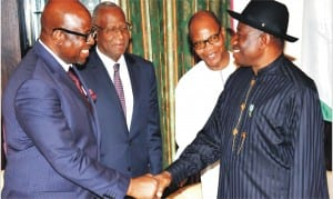 L-R: UN Country Representative to Nigeria, Mr Dauda Toure, Special Representative of the United Nations Secretary-General for Central Africa (UNOCA), Abdoulaye Bathily, Special Representative of the United Nations Secretary-General, for  West Africa, Mohamed Ibn Chambas and President Goodluck Jonathan, after an audience with President Jonathan in Abuja, yesterday