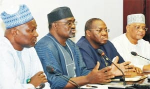 L-R: Director-General, Bureau of Public Enterprises, Benjamin Dikki; Minister of Mine and  Steel Development,  Musa Sada; Permanent Secretary, Ministry of Power, Godknows Ighali  And Vice Chairman, Technical Committee, National Council On Privatization,  Haruna Sambo, During A News Conference After  National Council On Privatisation Meeting in Abuja On Thursday (16/4/15).