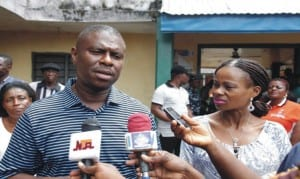 Dr. Dakuku Peterside, APC governorship candidate in Rivers State with his wife, Elima, speaking to news men after accreditation at his hometown in Opobo-Nkoro