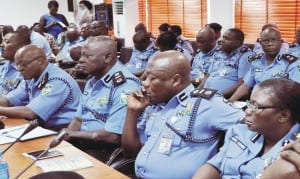 Some Senior Police Officers during their meeting with Inspector- General of Police, Suleiman Abba, in Abuja, recently