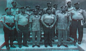 The Assistant Inspector-General of Police (AIG) in-charge of Eastern Ports, Mrs Kalafite Helen Adeyemi (centre), flanked by the former Onne Area II Controller of Customs, Hamzat Gunmi (right) with other officers during her visit to the port, recently.