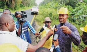 Bayelsa State Commissioner for Environment, Mr Inirou Willsthe, briefing newsmen after inspecting SPDC oil spill sight on Edepie, Imiringi-Otuasegha Road in Ogbia Local Government Area, recently.