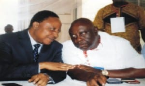 SSG Rivers State Hon George Feyii (left) chatting with the outgoing State Chairman of Nigeria Labour Congress Comrade, Oruge Chris during the 11th delegates confernece last Thursday at Hotel Presidential, Port Harcourt.         Photo: Obina Prince Dele