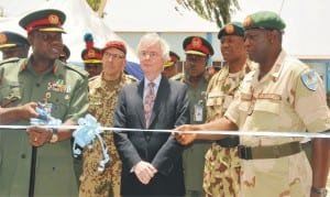 L-R: Chief of Army Staff, Lt.-Gen. Kenneth Minimah, German Ambassador to Nigeria, Mr Micheal Zenner and Commandant, 1 Div., Maj.-Gen. Kenneth Osuji, at the inuaguration of Nigerian Army Peace-keeping Medical Centre in Jaji, Kaduna State, Monday