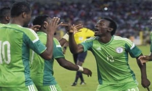 Nigeria Super Eagles in celebration in a recent game. They are expected to reach the semi final stage of 2018 World Cup