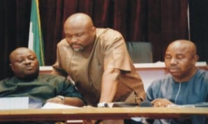 Speaker, Rivers State House of Assembly, Rt Hon Otelemaba Amachree (left ) listen to the Leader of the House, Hon Chidi Lloyd (middle) Deputy Clerk of the House, Mr Lekie Damnu (right) at the sitting of the House last Wednesday .                            Photo: Chris Monyanaga