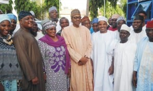 President-elect, Maj.-Gen. Muhammadu Buhari (2nd right), APC Taraba State governorship candidate in the April 11 election, Senator Aisha Alhassan (3rd left) and other delegates, during thier visit to the president-elect in Abuja, last Wednesday
