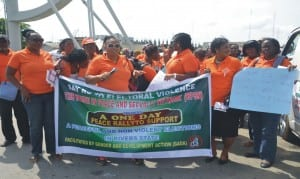 The Women in Peace and Security Network on a rally against election violence in Port Harcourt, recently.