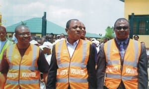 L-R: Permanent Secretary, Rivers State Ministry of Education, Mr Minabelem Micheal-West, Government and Community Relations Manager East, SPDC, Mr Edesiri Akpormudjere and Mr Karibi George, during the Safe Routes To School, Child Road Safety Initiative, recently