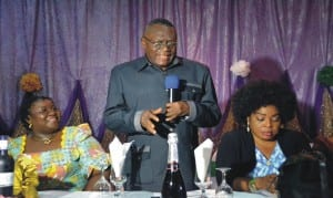 Chairman, Rivers State Civil Service Commission and Chairman of the occasion, Sir Ngo Martins-Yellowe, addressing participants during the send-forth of Rivers State Information and Communications Commissioner, Mrs Ibim Semenitari (left), in Port Harcourt, yesterday. With them is General Manager, Rivers State Broadcasting Corporation, Ms Medline Tador.Photo: Nwiueh Donatus Ken
