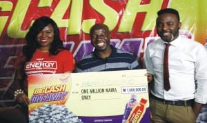 L-R: Group Product Manager, GSK Consumer Nigeria Plc, Ms. Aigbeme Momoh, one million naira winner, Mr. Henry Oboro and VJ Adams of Sound City, during the second draw and cheque presentation of the lucozade Ribena Big Cash Giveaway Promo in Calabar, recently.