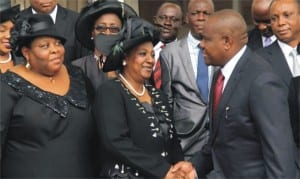 Rivers State Governor, Chief (Barr) Nyesom Wike (right), congratulating the new Acting Chief Judge of the state, Justice Daisy Okocha (middle), after her swearing-in in Port Harcourt on Monday. With them are the new Acting President of the Customary Court of Appeal, Rivers State, Justice Christy Gabriel-Nwankwo (left), and other judicial officers