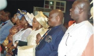 R-L: Deputy Senate President, Senator Ike Ekweremadu, Governor of Rivers State, Chief (Barr) Nyesom Wike, his wife, Suzette, Deputy Governor of the state, Dr (Mrs) Ipalibo Banigo, former Deputy Governor, Engr Tele Ikuru and his wife, Mina, during the thanksgiving service to mark the swearing-in of the state governor and his deputy, at Salvation Ministries, Port Harcourt last Sunday