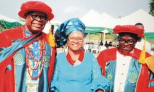 L-R:  Prof. Chiweyite Ejike and wife, Nwakaego with Catholic Bishop of Sokoto Diocese, Bishop Hassan Mathew-Kukah, during a reception for the award of Honorary Doctor of Science by Ebonyi State University to the Professor in Abakaliki recently