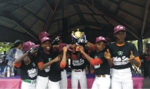 The Lagos State U-12 Baseball and Soft-ball team celebratng with their trophy, yesterday in Port Harcourt.