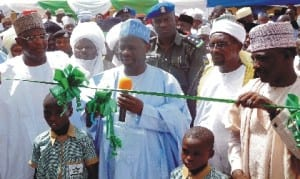 Governor Ibrahim Dank Wambo of Gombe State (middle), Inaugurating the Inuwa orphanage Foundation in Gombe last Wednesday.  With him are the Acting Secretary  to the State government, Mr James Pisaghi (left)and the immediate past Speaker, Gombe State House of Assembly and Alhaji Inuwa Garba (right).