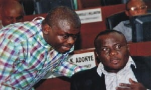 Lawmaker representing Obio/Akpor Constituency ll in Rivers State House of Assembly, Hon Michael Chinda (right), with member representing Ogba/Egbema/Ndoni Constituency, Hon Christian Ahiakwo, during the sitting of the House in Port Harcourt, yesterday.