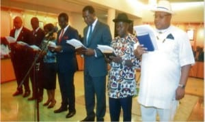 New Secretary to Rivers State Government, Chief Kenneth Kobani (right), Chief of Staff, Government House, Engr Emeka Woke (2nd right) and newly appointed state commissioners, taking their oath of office in Port Harcourt, last Friday