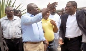 Governor Akinwumi Ambode of Lagos State (2nd left), inspecting traffic flash points in Lagos. With him are secretary to Lagos State Government, Mr Tunji Bello (right) and director, transport engineering, Lagos Ministry of Transportation, Dr Frederick Olofin. Photo: NAN