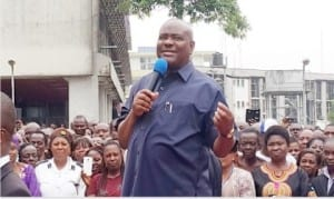 Rivers State Governor, Chief Nyesom Wike  Addressing Rivers Civil Servants in Port Harcourt on Monday