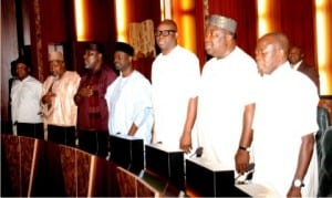Governors of States, during a meeting with President Muhammadu Buhari at the Presidential Villa in Abuja, yesterday