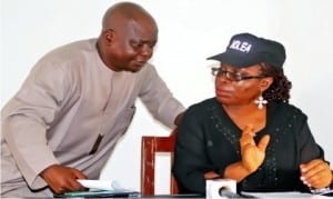 Assistant State Commander, National Drug Law Enforcement Agency (Ndlea), Bayelsa State Command, Mr Segun Adeyeye, with State Commander, Josephine Obi, at Ndlea news conference in Yenagoa on Monday