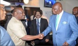 Governor Nyesom Wike being welcomed by South African High Commissioner to Nigeria, Mr Lulu Louis Mmagani,  at the inauguration of South Africa Visa Application Centre in Port Harcourt.