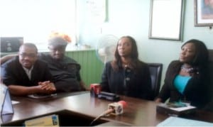 Former Permanent Secretary, Ministry of Information and Communications,  Rivers State, Mrs  Cordelia Peterside (right), Director, IT and Operations CONSAT, Ouwafunmilola Adewon  (middle), General Manager, RSTV,  Mr. Tonye  Ekoong (2nd left), and General Manager,  RSNC, Mr. Celestine Ogolo, during presentation of CONSAT decorders to LGA representatives in Port Harcourt, recently..                                        Photo: Egberi A. Sampson