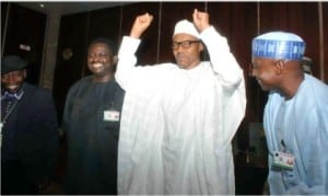 President Muhammadu Buhari (2nd right), Special Adviser to the President on Media and Publicity, Mr Femi Adesina (2nd Left), Senior Special Assistant to the President on Media and Publicity, Malam  Garba Shehu (right), and the Chairman, State House Press Corps, Mr Kehinde Amodu, after a meeting of the President with State House correspondents at the Presidential Villa, Abuja,last Monday