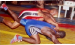Wrestlers in contest in a past national competition