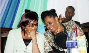Representative of Rivers State Deputy Governor, Ms. Dafeni Gogo-Abbey (left) discussing with the wife of the Vice Chancellor, Rivers State University of Science & Technology, Mrs. Gloria Fakae, during the Second Female ASPIRE conference in Port Harcourt,  recently