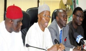L-R: National President, Independent Petroleum Marketers Association of Nigeria (ipman), Chief Obasi Lawrence,  Permanent Secretary, Ministry of Petroleum Resources, Mr taiye Haruna, Executive Secretary, Major Oil Marketers Association of Nigeria (moman), Mr Obafemi Olawore and representative of the Group Managing Director of nnpc, Dr David Ige, at a stakeholders meeting to address the current petrol scarcity tagged: petrol queues must go, in Abuja, recently. Photo: NAN