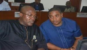 Deputy Speaker, Rivers State House of Assembly, Rt Hon Marshal Uwom (left), with  Hon Chisom P .Dike, during the sitting of the House in Port Harcourt, recently.