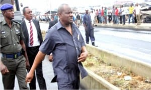 Rivers State Governor, Chief Nyesom Wike (middle), inspecting Azikiwe Road project in Diobu, Port Harcourt inline with 'Operation Zero Pothole' Programme in Port Harcourt, yesterday