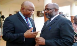 Chief  Judge of  Anambra State, Justice Peter Umeadi (Left) discussing  with Chairman, Nigeria Bar Association (NBA), Onitsha  branch, Mr Chudi Obieze, during  the association's  visit to the Chief Judge  in Onitsha recently.
