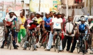 Cylists waiting for the commencement of competition at a recent meet in Port Harcourt.