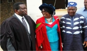 L-R: Vice Chancellor, University of Ibadan, Prof. Isaac Adewole, Lecturer, Prof. Deborah Egunyomi and Nigerian Ambassador in United Nations Scientific and Cultural Organization (UNESCO), Emeritus Prof. Michael Omolewa, at the University of Ibadan Inaugural Lecture titled Balancing Life Equation With Continuing Education delivered by Prof. Egunyomi in Ibadan, last Thursday.