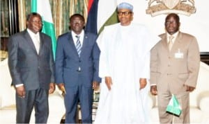 L-R: Bukina-Faso Ambassador to Nigeria, Mr Piabe Ndo, Bukina-Faso's Special Envoy, Mr Rene Bagoro, President Muhammadu Buhari and the Permanent Secretary, Ministry of Foreign Affairs, Ambassador  Paul Lolo, during the visit of the Special Envoy to the Presidential Villa in Abuja last Thursday.