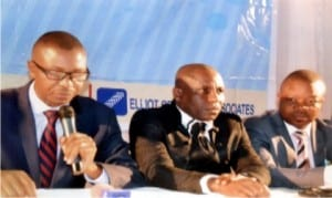 Chairman, Nigeria Institution of Estate Surveyors and Valuers, Rivers State branch, Mr Oladapo Olayal (left), addressing newsmen during a press briefing in Port Harcourt last Thursday.  With him are immediate past Chairman,  Emma Okas Wike (right) and  Secretary of the union, Monday Ahiwe .                                       Photo: Ibioye Diama.